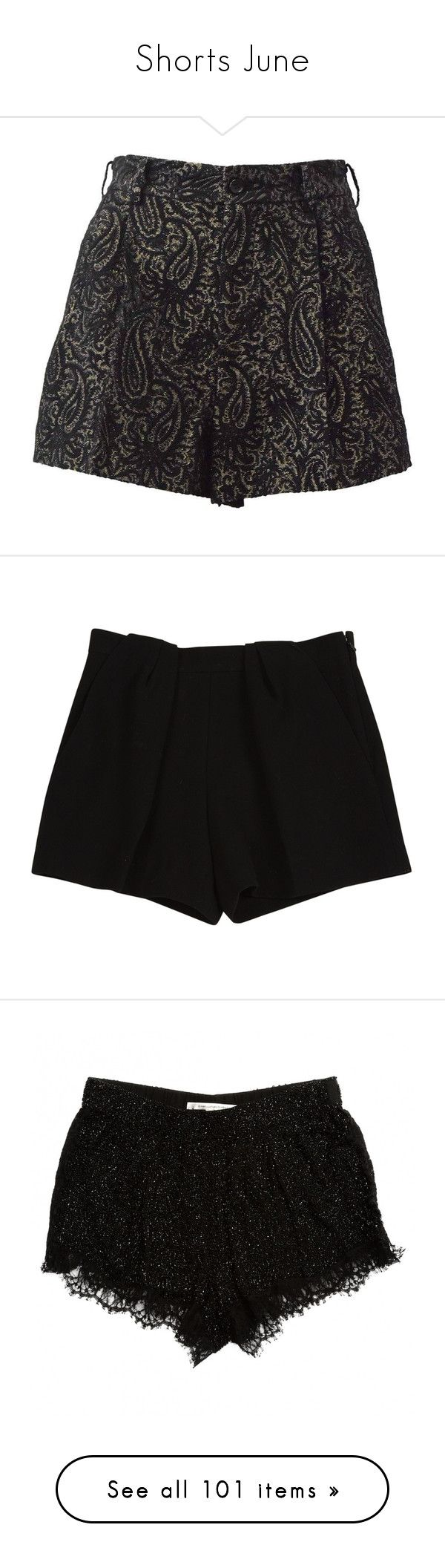 """""""Shorts June"""" by ravenleeart ❤ liked on Polyvore featuring shorts, black, mini shorts, mini short shorts, black and gold shorts, hot shorts, hot short shorts, bottoms, pantaloncini and women clothing shorts"""