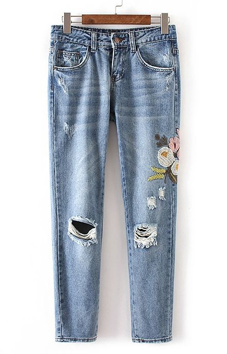floral embroidered jeans | pinterest: rooleeboutique