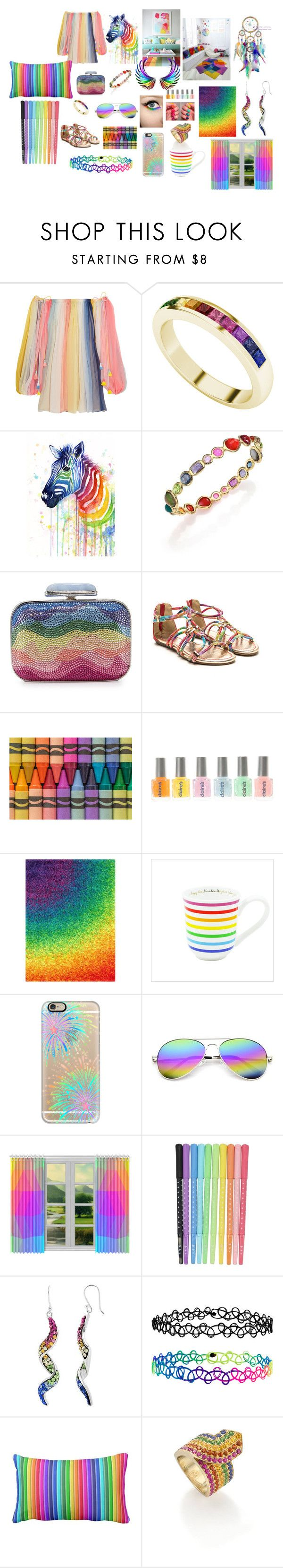 """Over the rainbow"" by ustine on Polyvore featuring moda, Chloé, StyleRocks, Ippolita, Judith Leiber, Loloi Rugs, Casetify, Revo, cutekawaii i Accessorize"