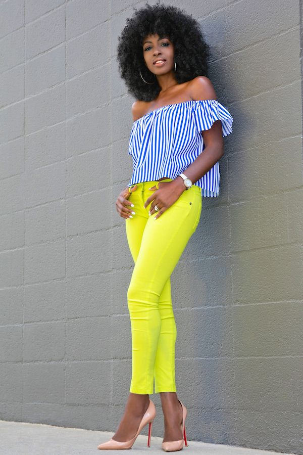 Striped Off Shoulder + Neon Skinny Jeans Outfit Details: Top: Available here or similar here | Jeans (old): Similar here, here or here | Shoes:Similar here Fashion Look by Style Pantry