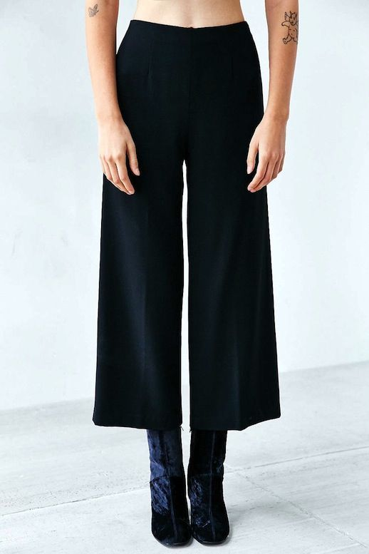 Le Fashion Blog Culottes Cropped Wide Leg Trousers Velvet Heeled Tall Ankle Boots Via Urban Outfitters and leather jacket