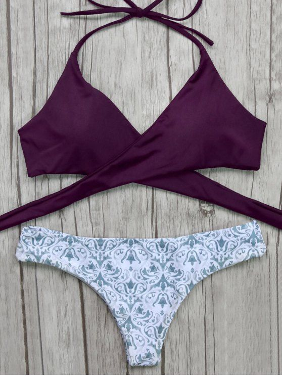 $12.49 Wrap Bikini Top and Baroque Bottoms - BURGUNDY M