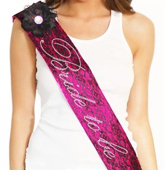 Bride To Be Pink Black Luxury Lace Sash