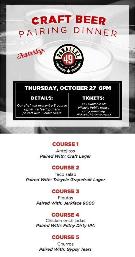 Micky's Public House Presents A Parallel 49 Craft Beer Pairing Dinner October 27, 2016