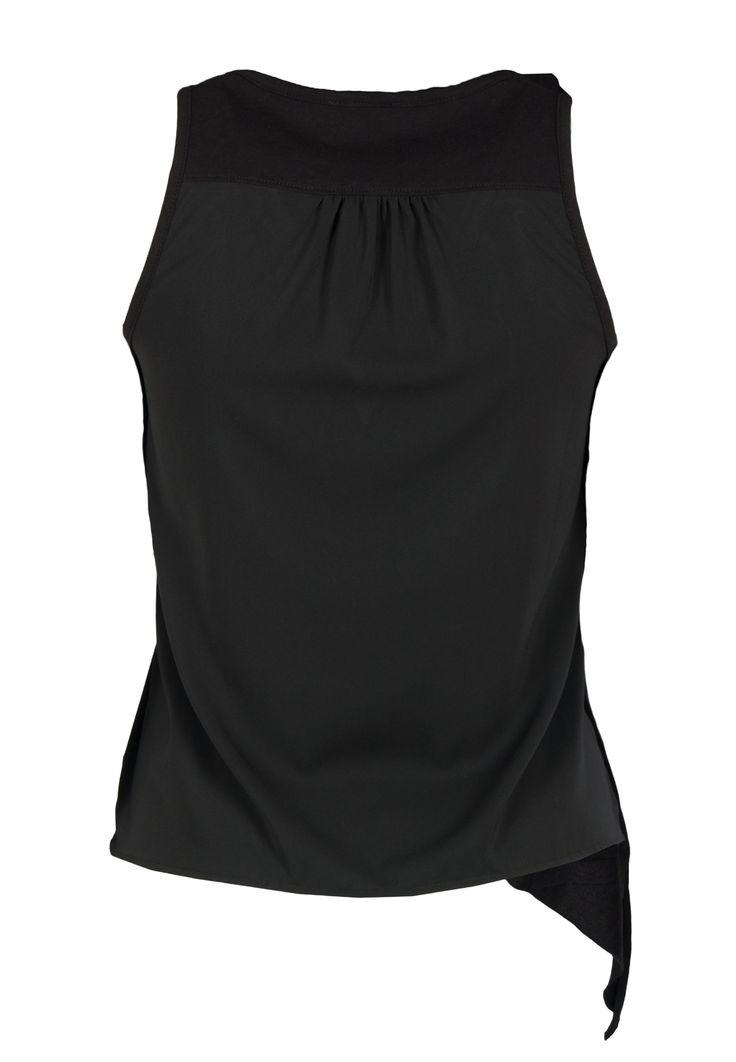 Черная майка асимметричного кроя EA7 - купить по цене 9900 рублей, арт. 3YTH69 TJ52Z - Elyts.ru