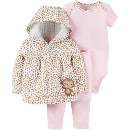 Child of Mine by Carter's Newborn Baby Girl Sweater, Bodysuit, and Pants Outfit Set - Walmart.com