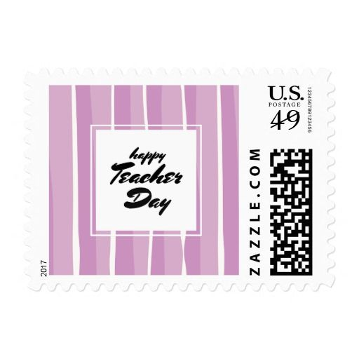 Happy Teachers' Day. Stripe Pattern Typography Art design Teacher Appreciation Day personalized Postage Stamps. Matching cards, postage stamps and other products available in the Business / Occupation Specific / Education, Childcare Category of the Mairin Studio store at zazzle.com