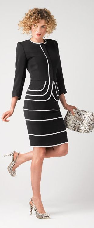 Luv! <3Fashion Passion, Black White Styl, Offices Attire, Black And White, Dresses, Business Attire, Clothing Attire, Skirts Suits, Fabulous Suits