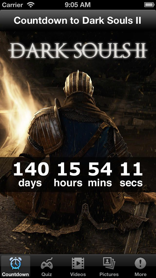 Countdown to Dark Souls II: You can download here: https://itunes.apple.com/hu/app/id695743929?mt=8&affId=1860684 Countdown to the game and more.
