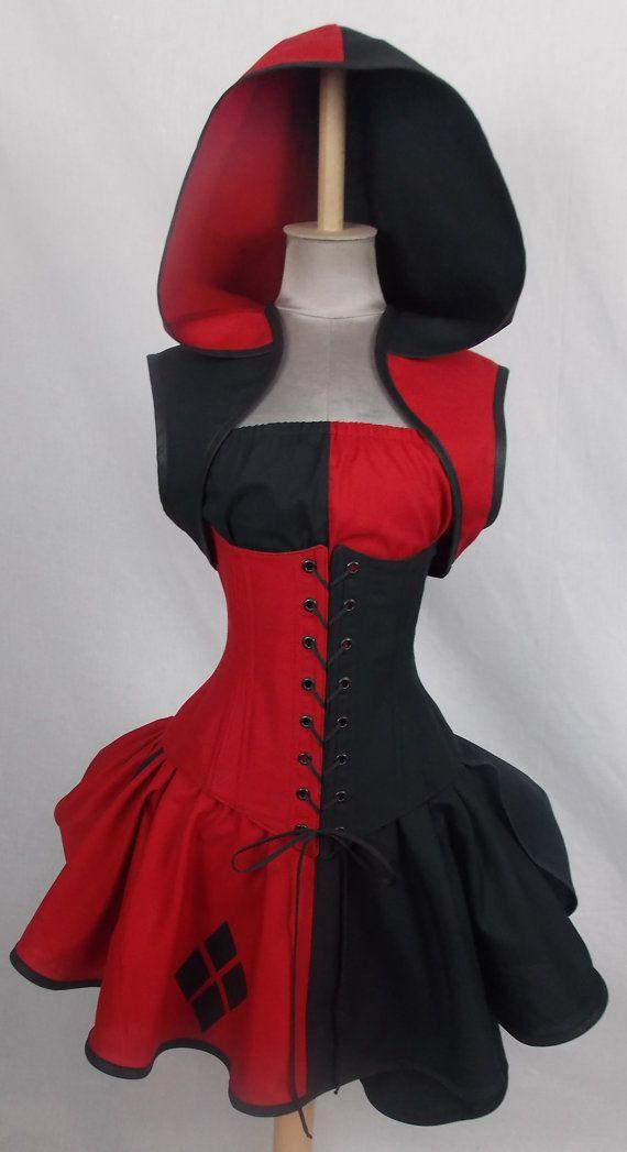 Harley Quinn Inspired Villain Style Brick Red Black by loriann37