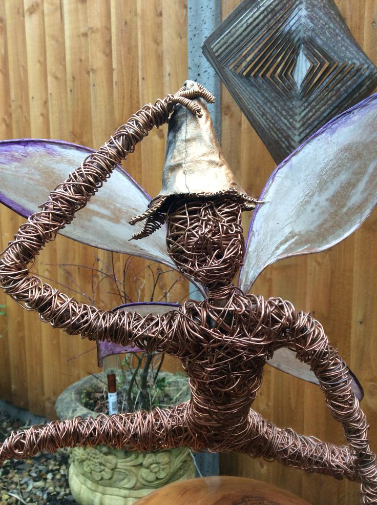 Copper fairy sculpture