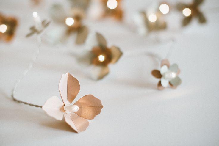 Nude almond blossom light garland made by Edinas paper everydays