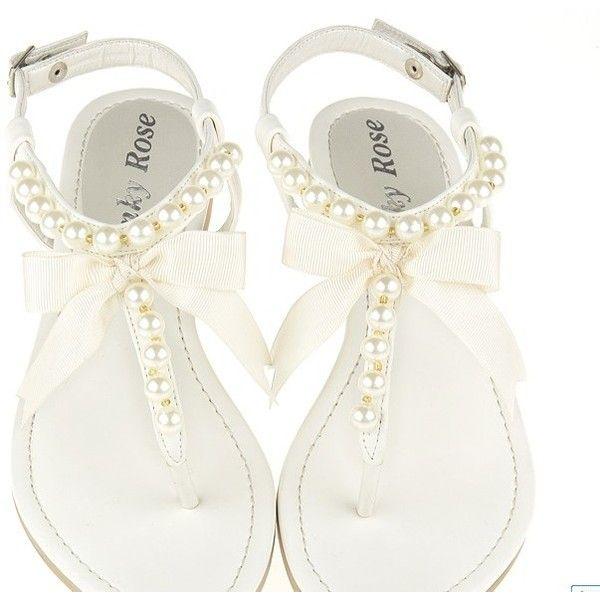 Fashion Pearl Embellished Flat Sandal White