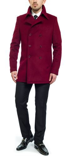 buy Frencheye Maroon Double Breasted Cashmere & Wool Overcoat online