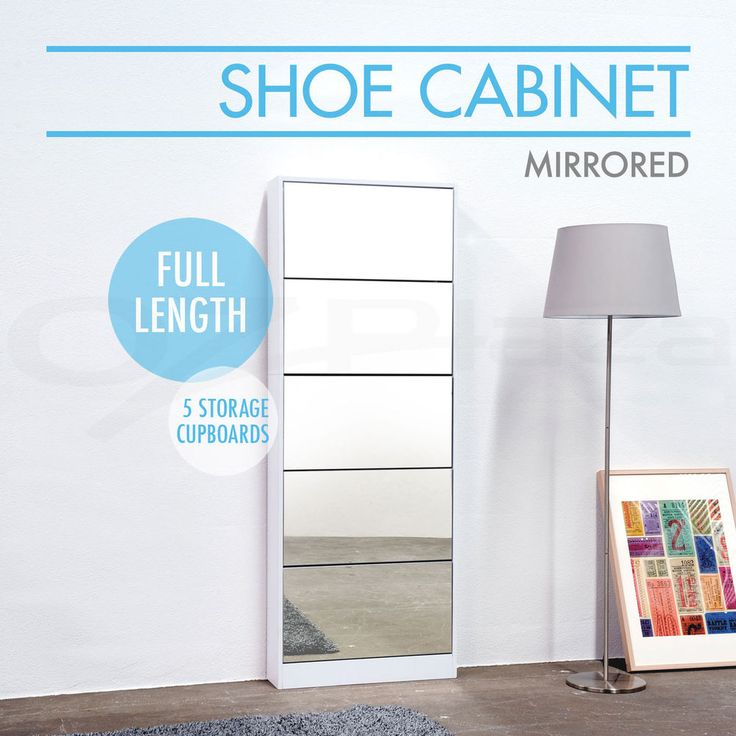 25 Pairs Mirrored Shoe Cabinet Rack Mirror Storage Organiser 5 Drawers White in Home & Garden, Cleaning, Housekeeping, Home Organisation | eBay