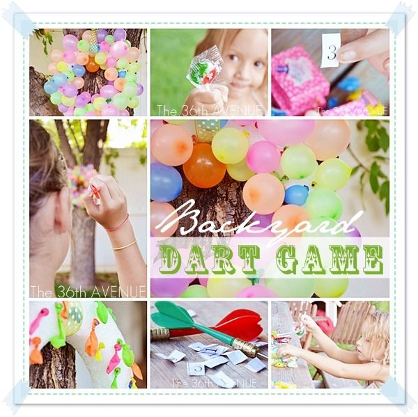 Balloon wreath, backyard dart game, great for birthdays or summer! (The 36th Avenue)