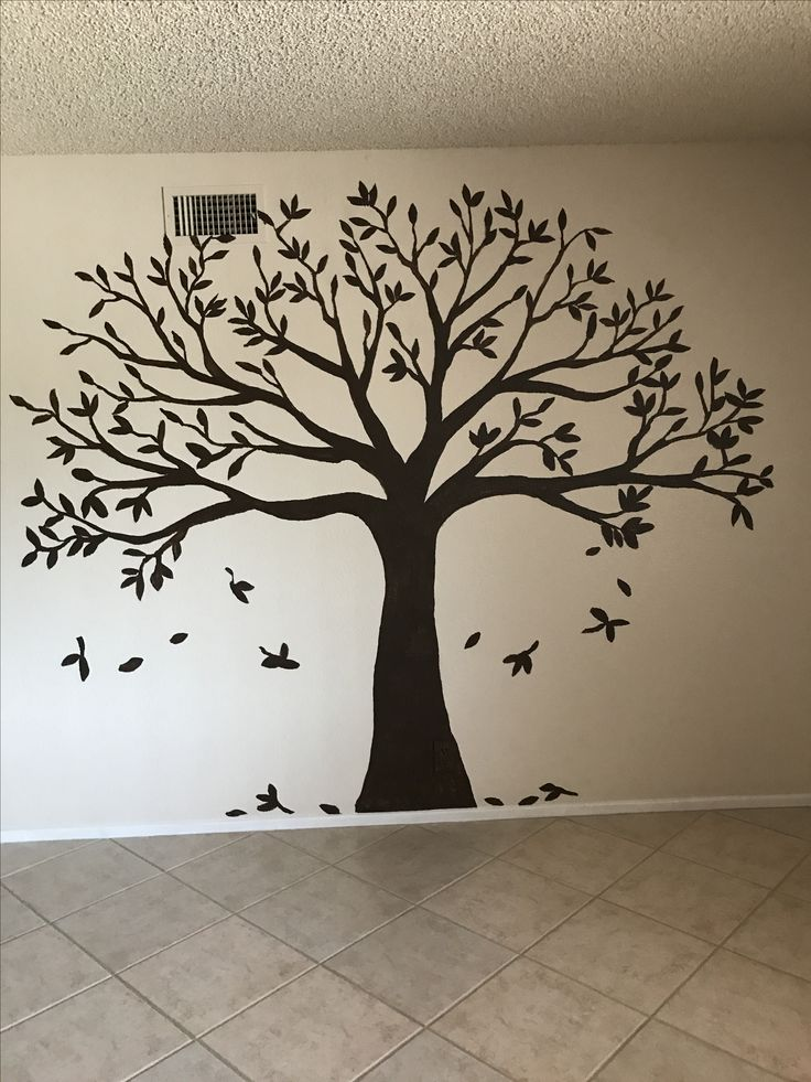 Dark brown flat paint Family tree | Family tree wall in ...