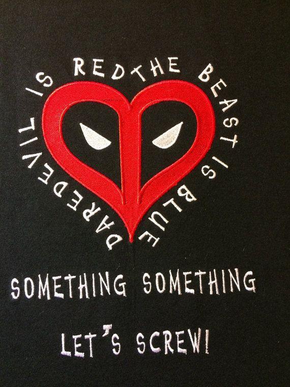 Deadpool Valentine Embroidery Design 4x4 5x7 by StringTheoryFabArt