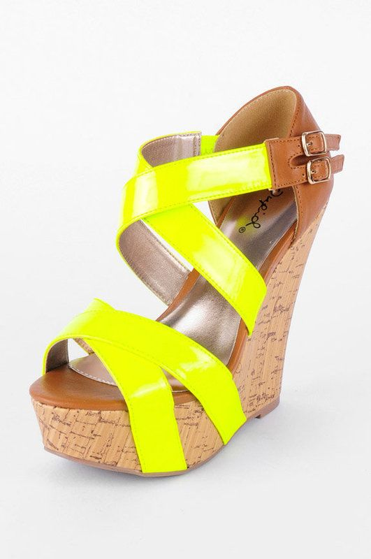 neon yellow wedges | SHOES | Pinterest