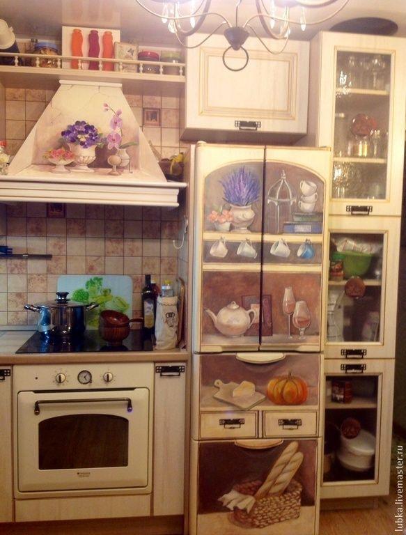 Купить Роспись холодильника и вытяжки - роспись холодильника, роспись техники, роспись анютины глазки