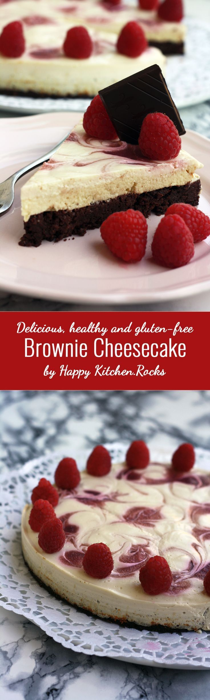 ... gluten-free brownie cheesecake with raspberry swirl. Easy 50-min