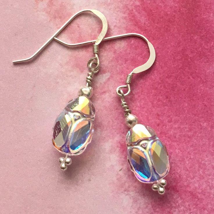 swarovski scarab | Swarovski crystal scarab beetle sterling silver drop earrings