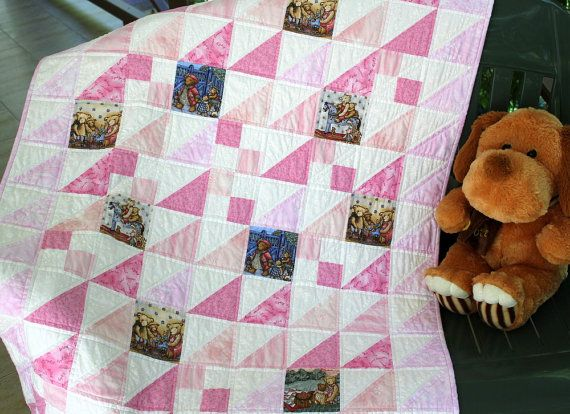 Pink Baby Quilt  Quilted Baby Blanket  Crib by RedNeedleQuilts