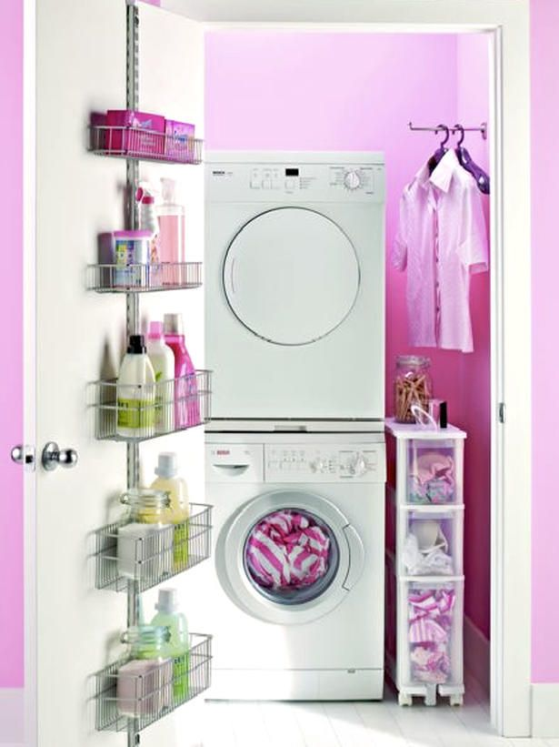 Keeping Your Closet Transformation Clean Although small in square footage, many apartments and homes can enjoy a washer and dryer. Find room to create your own laundry room right behind a closet door. Liven it up by painting the entire small space a bright color – pink is a fresh color story for 2010. Image courtesy of The Container Store.