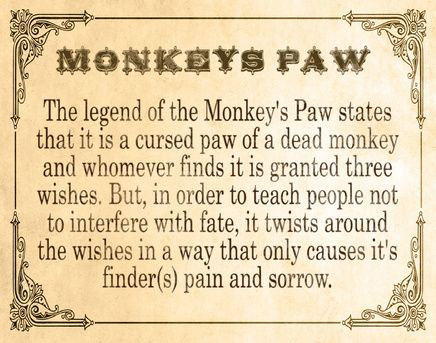 symbolism in the monkeys paw Conclusion another adding of mystery and tension comes with the symbolism of the number 3, as there are 3 chapters, 3 members of the white family, 3 wishes and the.