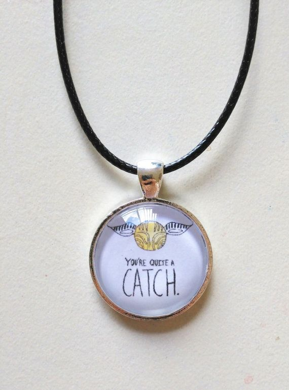 "I am quite the one for puns I must admit, which is why I am loving this ""You're Quite A Catch"" Quidditch Necklace with Free Shipping  by FeathersandStars"