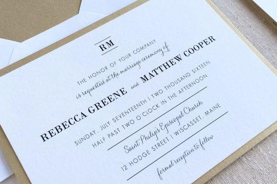 Traditional Wedding Invite - Elegant Gold Invitation. Classic Monogram. Black Tie Wedding Stationery. Formal Wedding Suite in Gold & Black.