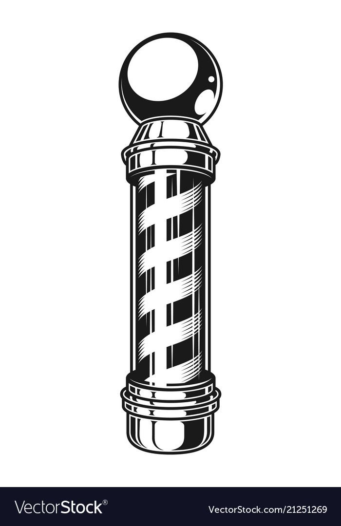 Vintage Barber Shop Striped Pole Template In Monochrome Style Isolated Vector Illustration Download A Free Preview Or Barber Logo Barber Tattoo Vintage Barber