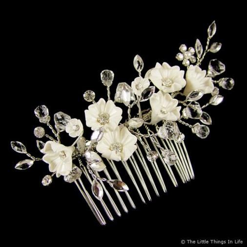 Jocasta Wedding Flower Hair Comb 10cm (Silver) - Photo 1