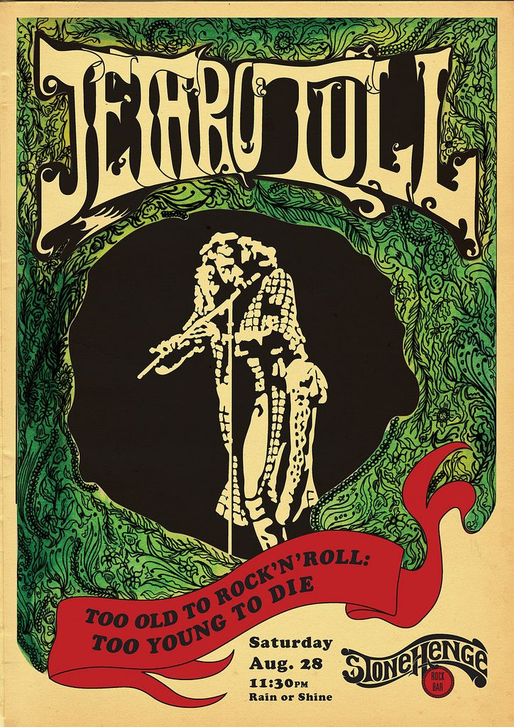 Vintage, retro, hippie classic rock poster - Jethro Tull. Let's all stand on one leg and play the flute!