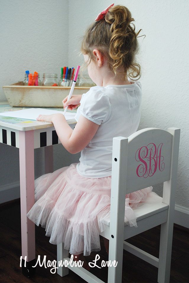 """Buy an inexpensive children's chair from IKEA, add a 4"""" vinyl monogram"""