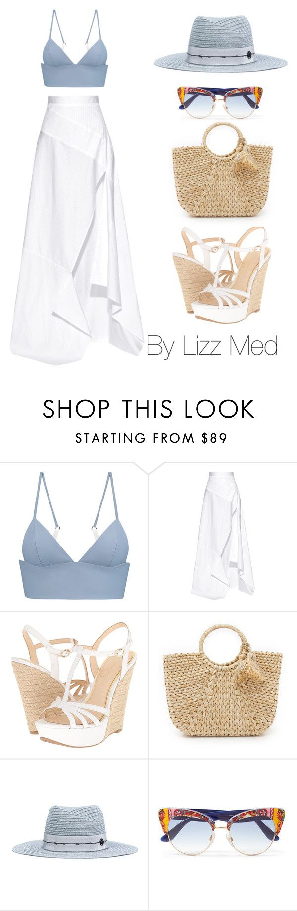 """""""Beach vibe"""" by lizz-med ❤ liked on Polyvore featuring T By Alexander Wang, Michael Lo Sordo, Jessica Simpson, Hat Attack, Maison Margiela and Dolce&Gabbana"""