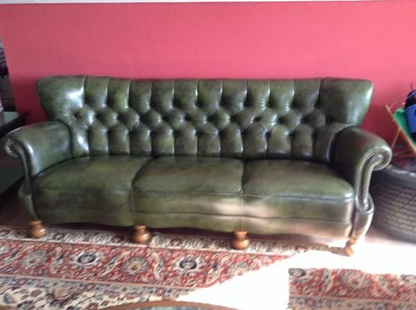 Grünes Chesterfield Ledersofa » Designermöbel, Klassiker