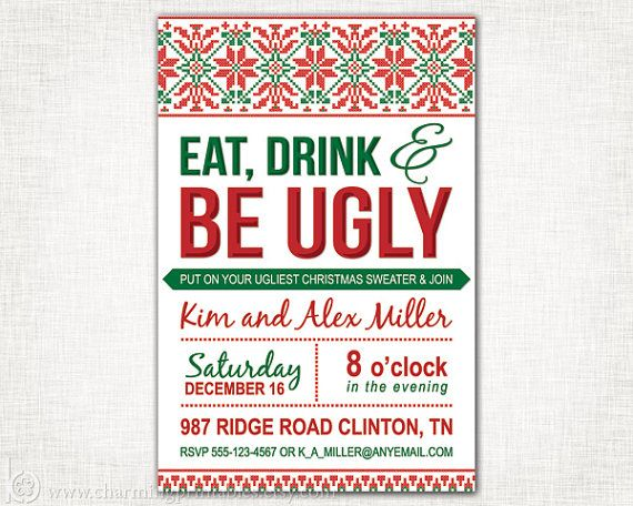 195 best images about Design – Ugly Christmas Sweater Party Invitations Free