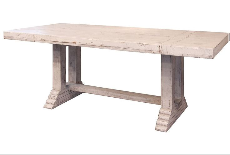 """GREENVIEW 79"""" PEDESTAL DINING TABLE - DISTRESSED WHITE"""