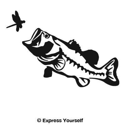 Big Mouth Largemouth Bass Decal Fish Silhouette Fish