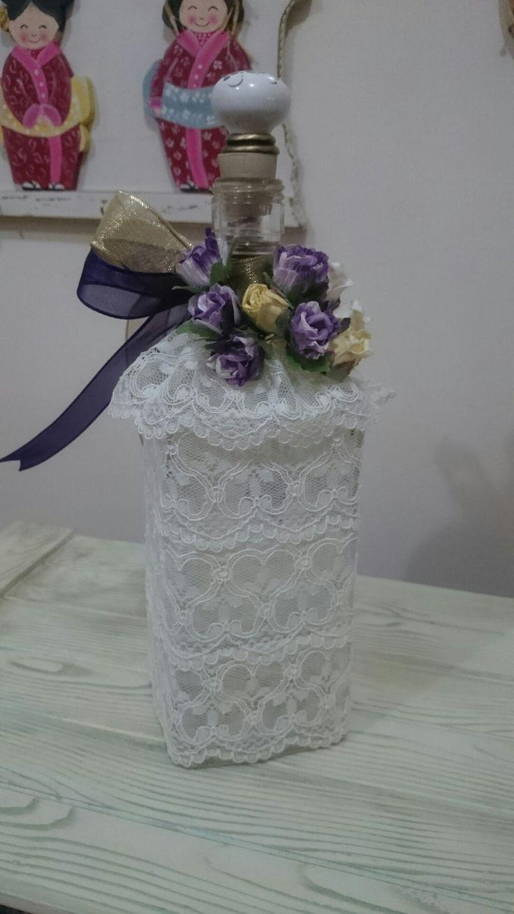 Eskiyi yenileme #cam şişe#dantel #dekoratif çiçek#Handmade