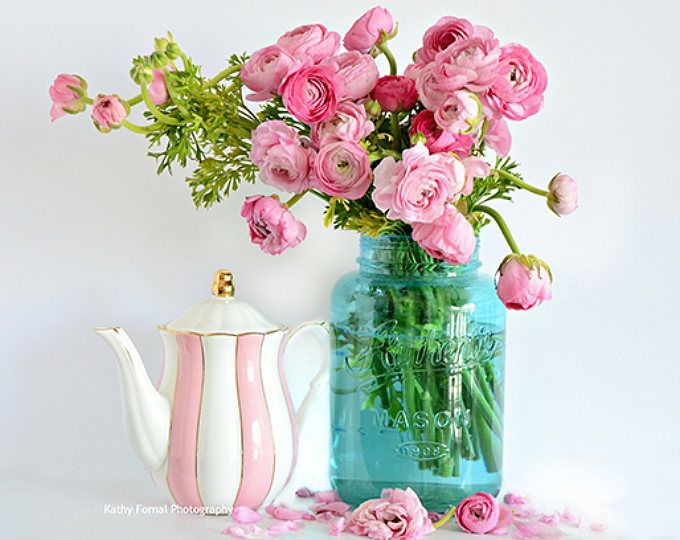 Ranunculus Flowers Pink Floral Prints Shabby Chic Decor Etsy Pink Flower Photos Pink Rose Print Shabby Chic Flowers