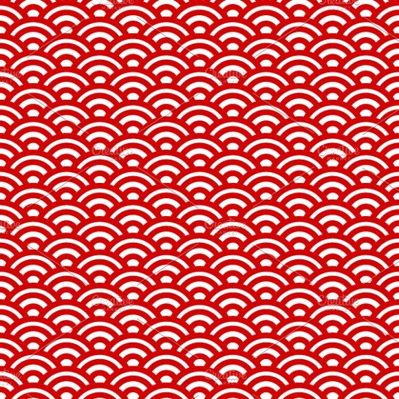 Red And White Waves Japanese Pattern Japanese Patterns Red And White Red And White Wallpaper