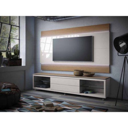Manhattan Comfort Lincoln TV Stand with Silicon Casters and Lincoln Floating Wall TV Panel with LED Lights 2.2 for TVs up to 70 inch, Multiple Colors, Brown