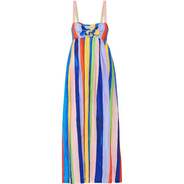 Mara Hoffman Tie-front striped organic linen maxi dress ($435) ❤ liked on Polyvore featuring dresses, blue, linen dresses, blue dress, stripe dresses, striped maxi dress and multi color maxi dress