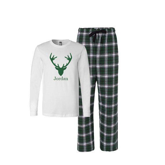 Personalized Antlers Flannel Pj Set, Adult Christmas Pajamas, Christmas Flannel Pajama set, Xmas Plaid Pajamas, Adult Antlers xmas Tshirt