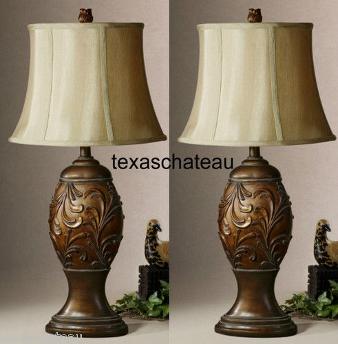 Set 2 Old World Tuscan Style Decor Bronze Scroll Desk Accent Table Lamps New Ebay