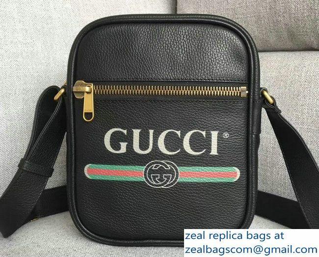 a1653f0019f1 Gucci Vintage Logo Print Messenger Bag 523591 Black 2018