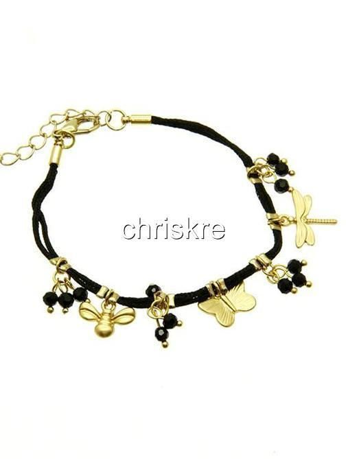 Gold Bumble Bee Charm Bracelet Butterfly Dragonfly Black Rope Plated USA Seller #Dorothy #Traditional
