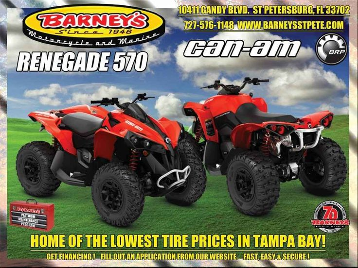 New 2017 Can-Am Renegade 570 ATVs For Sale in Florida. RENEGADE - PUSH THE BOUNDARIESTake control with the power you want and the ability to easily navigate whatever conditions you encounter. Featuring class-leading horsepower and agile handling, it's simply the best sport-performance 4x4 ride available.Call Norm at 727-576-1148 for all the details.Ask About Barney's Platinum Maintenance ProgramGet VIP Preferred Service and Enjoy the Savings Too!We now offer financing for parts, accessories…